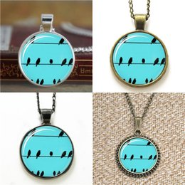Wholesale Photo Wires - 10pcs Birds on Wires Glass Photo Necklace keyring bookmark cufflink earring bracelet