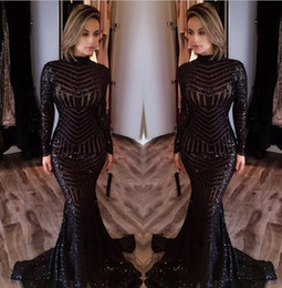 Wholesale Mermaid Train Prom Dresses - Sexy Black Mermaid Evening Dresses 2017 Newly High Neck Long Sleeves Sequined Prom Dresses Sweep Train Celebrity Red Carpet Gowns Custom