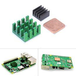 Wholesale Cooler Cpu - Wholesale- Raspberry Pi 3 Model B Aluminum Heat Sink + Bracket Raspberry Pi RPI Sink Cooling CPU Copper Heat Sink 2