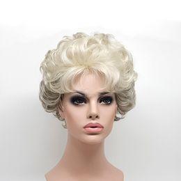 Wholesale Elderly Wigs - Short Curly Silver Grey Wigs for Middle-aged and Elderly Women Synthetic Hair Pelucas Sinteticas Perruque Peruca Pruiken XT960