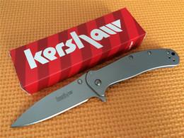 Wholesale 8cr13mov 58hrc - Promotion! 100% OEM Kershaw 1730ss Tactical Flipper Folding Knife EDC pocket knife knives Outdoor hiking camping Survival pocket knives