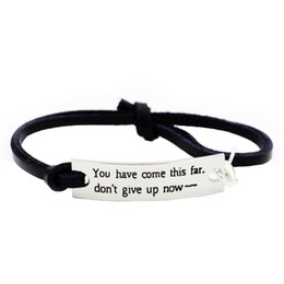 Wholesale European Boy Charms - Eosmer Inspirating Gifts For Students Teachers Encouragement Leahter Bracelet Saying You Have Come This Far Birthday Gifts For Boys Girls