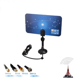 Wholesale Digital Tv Receiver Antenna - Digital Indoor TV Antenna HDTV DTV HD VHF UHF Flat Design High Gain US EU Plug New TV Antenna Receiver by DHL