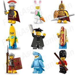 Wholesale Toy Soldier Wholesalers - 27pcs lot Pump Figures Collection Sharkman Hotdog Man Royal Guard Graduate Spartan Roman Commander Soldier Banana Man Rabbit Figure Toy