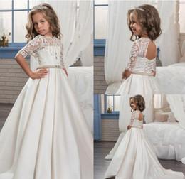 Wholesale Girls Flower Dress Pearl - 2017 Custom Princess Half Sleeve Holy Lace White Communion Dress Little Girls Beaded Pearls Party Dress Kids Wedding Flower Girls Dresses