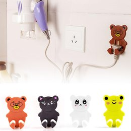 Wholesale Electrical Wall Sockets - Wholesale- 2 pcs set strong adhesive electrical plugs hook wall socket storage shelf Seamless sticky hooks cartoon hook S2