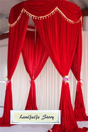 Wholesale Height Stand - 10ft height *20ft long New Desion Gold Velvet Wedding drapes with top swags Free shipping Red round stand curtains backdrops for Festive