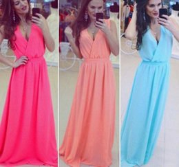 Wholesale Tight Maxi Skirts - The new women 's dress skirt with tight sleeveless V - neck chiffon dress