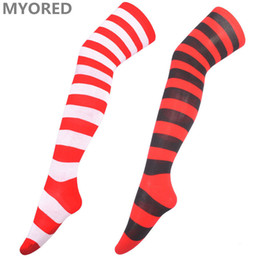 Wholesale Sexy Red Stockings Girl - christmas long stocking gift long socks sexy women girls over the knee thigh high cotton red white striped long sock halloween 40pairs DHL