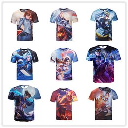 Wholesale King Style Logo - New Fashion t shirts for men women clothes Youth Lover Style 3D Cartoon King of Glory Creative Game Logo Print Short Sleeve Tops