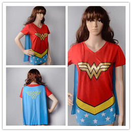 Wholesale Ladies Cloak Cotton - Free shipping halloween costumes wonder women cosplay costumes girls party dresses cloak superhero capes for lady ouc2025