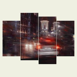 Wholesale Framed Car Pictures - (No frame) Car series HD Canvas print 4 pcs Wall Art Oil Painting Textured Abstract Pictures Decor Living Room Decoration