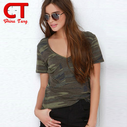 Wholesale Xxl Sexy V - Wholesale-2016 Women's T-shirt V Collar Sexy Summer Camo Short Sleeved Tshirt and Casual Camouflage Shirt Woman Fashion Street Wear S-XXL