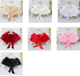 Wholesale Shawl White Satin Flowers - 2017 New Winter Warm Flowers Girl Lace up Capes shawl Wedding Dress faux fur stole Wraps Cap jacket for party gown dinner Pink White Red