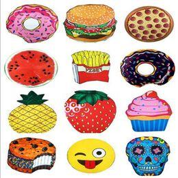 пицца мороженое Скидка 13 конструкций круглый пляжное полотенце пицца гамбургер череп мороженое клубника смайлик Emoji ананас арбуз чипсы душ полотенце одеяло Шаль