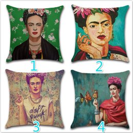 Wholesale Decorative Butterfly Pillows - 8 Style 45*45cm Cushion Cover Frida Kahlo Pillow Case Firm Flower self-portrait Sofa Butterfly Bedroom Home Decorative Throw Pillow Cover