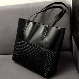 Wholesale Plain Ladies Tops - Fashion European and American Women Handbags Leather Criss-cross Shoulder Bag Ladies Casual Tote Large Capacity Top-Handle Bolsa