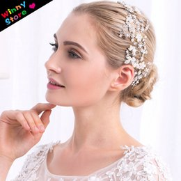 Wholesale Silk Rope For Jewelry - Trendy Wedding Hair Accessories For Women Bride Silver Crystal Rhinestone Headband With Silk Rope Bridal Pearl Hair Jewelry
