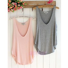 Wholesale Womens Vest Brown - Wholesale- 1 PC Fashion Sexy Soft Womens V-Neck Vest Summer Loose Sleeveless Tank T-Shirt Tops