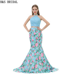 Wholesale Vintage Rose Prints - Printed Two Pieces Mermaid Prom Dresses Halter Sexy 2 Pieces Rose Flowers Evening Party Gowns Long B010