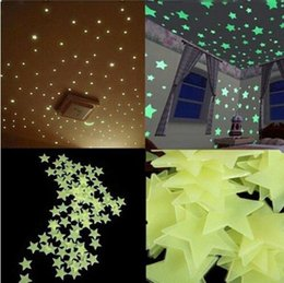 Wholesale Baby Room Murals - Wall Stickers Decal Luminous Sticker Bedroom Home Decor for Baby Kids DIY Glow in Dark Fluorescent 3 Colors Mural Star Stickers Hot Sale