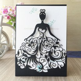 Wholesale Wedding Anniversary Invitation Cards - New 50pcs lot Free shipping Laser Cut princess Girl design Wedding Birthday anniversary Party paper Invitation Cards text personalized