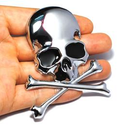 etiquetas gtr Rebajas 7.2x6 CM 3D Metal Skull Skeleton Crossbones Etiqueta Engomada Del Coche Etiqueta de Camión Emblema Insignia Car Styling Decoración accesorios