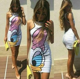 Wholesale Tight Pencil Dresses For Women - Long Tight Skirt Cartoon Printing Tight Dress Package Hip Slim Backless Zipper Dress Skirts For Women