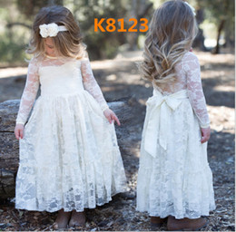 Wholesale Embroidered Tank Dress - 5 Styles Children Long Sleeve Sweet Tutu Ruffle Dresses Children Girls Lace Wedding Dressy Tank Bowknot Party Dress Kids Princess Soft Dress