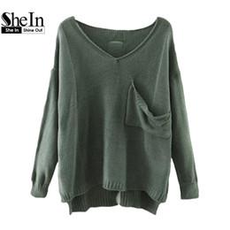 Wholesale Dip Hem - Wholesale-SheIn Casual Pullovers For Women Autumn Ladies V Neck Drop Shoulder Long Sleeve Dip Hem Loose Sweater With Pocket
