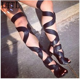 Wholesale High Heel Sandals Sexy Strappy - Botas 2017 Woman Sexy Strappy Lace Up Thigh High Sandals Boots Women Stiletto High Heels Cut Out Summer Over Knee Stylish Boots