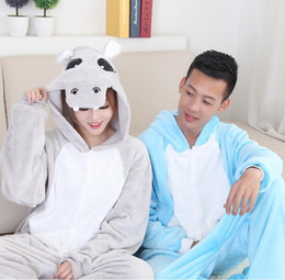 Wholesale Grey Hippo Costume - Adult party costumes flannel blue hippo onesie pajamas