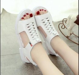Wholesale Primary Secondary - 2017 summer new soft at the end of primary and secondary school students sandals women with big children beach weaving shoes tendon bottom