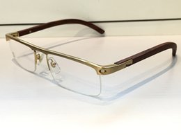 Wholesale Wooden Framed Eyeglasses - 4581369 Medusa Glasses Prescription Eyewear Vintage Frame Wooden Men Brand Designer Eyeglasses With Original Case Retro Design Gold Plated