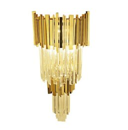 Wholesale Crystal Lighting Fixtures Wholesale - Double layer Golden Crystal Wall Lamps Modern bedroom corridor hotel wall lighting fixtures indoor E14 led wall lights LLFA