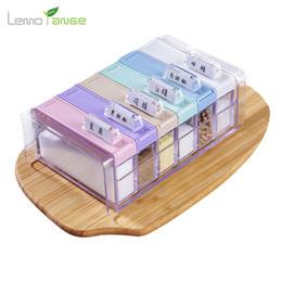 Discount salt boxes - Wholesale- Seasoning Boxes Lemorange 4Pcs 6Pcs Sugar Salt Spice Storage Plastic With Label Home Kitchen Cooking Tools TQQ0101