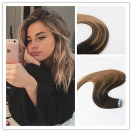 Wholesale Hair Extension Tape Wholesale Price - Wholesale Price Balayage Color #2#6 Tape in Remy Hair Extensions Seamless Virgin Human Hair Skin Weft Slik Straight Tape on Extension