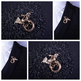 Wholesale Dragons Blood - Wholesale- 2017 Juego De Tronos Brooches Corsage Brooch Men's Suits Animal Collar Pin Buckle. Domineering Dragon Blood For Brothers Buckle