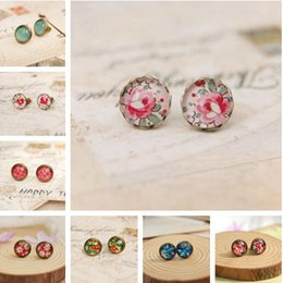 Wholesale Small Stud Earrings Animals - 10pairs lot Cute Flower Stud Earrings Mixed Lot Vintage Small Glass Cabochon Post Earrings for Girl 10mm rd0003