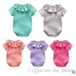 Wholesale Tutu Boutique Wholesale - Baby Kids Clothing Ins Kids Rompers Ruffle Sleeve Onesies Summer Lotus Leaf Sleeve Romper Toddler Boutique Jumpsuit Fashion INS Romper J64