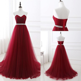 Wholesale Black Beaded Bandage Dress - 2017 New Sexy A-line Soft Tulle Dark Red Prom Dress Strapless Hand Beading Evening Gowns Bandage Long Party Dress vestido de festa Custom