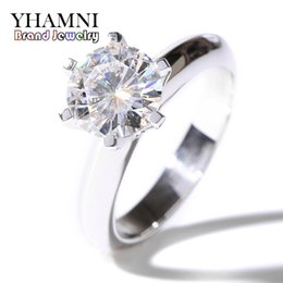 Wholesale Silver Pave Bar - YHAMNI Luxury Solid Silver Wedding Rings Brand Jewelry Top 7mm Diamond Ring 925 Sterling Silver Engagement Rings for Women 12121