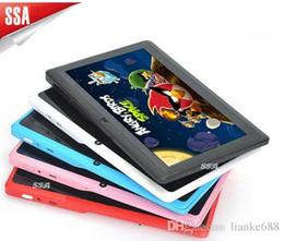 Tavoletta wifi della porcellana online-Stock USA / Regno Unito / Cina! Tablet PC Allwinner 7 pollici Android 4.4 Tablet PC A33 Quade Core Dual Camera 4GB 512MB Nuovo tablet pc capacitivo