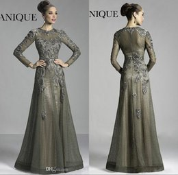 Wholesale glamorous blue - 2017 Glamorous Olive Long Sleeve Lace Mother Of The Bride Dresses Applique Sheer Crew Neck Formal Evening Gowns W327