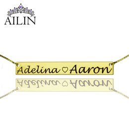 Wholesale Gold Nameplate Necklace Pendant - Wholesale-Wholesale2 Name Bar Necklace Gold Nameplate Necklace To My Sweet Heart Couple Necklace Valentine's Day Gift