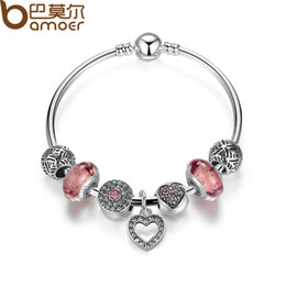 Wholesale Girls Bead Bracelet Bangle - Simple Friendship Bracelets Silver Color Heart Pendant Bracelets with European Beads Girl Bracelet Jewelry PA3805