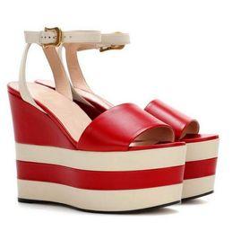 Wholesale Ladies Platform Slippers - 100% Genuine leather Handmade Shoes Women's Wedge heels slippers Sexy Ladies Platform Pumps High-end luxury Woman Peep Toe Sandals