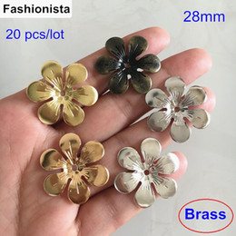 Canada 20 pcs 28mm métal estampage fleurs, 6 chapeaux de perles en laiton fleur pétale, bricolage artisanat, bijoux délicates constatations Offre
