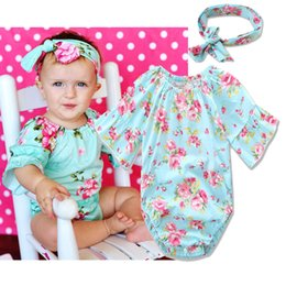 Wholesale Baby Fabric Tutu - baby girl romper sets kids cotton jumpsuit baby floral rompers + fabric flowers headbands toddler summer clothes newborn onesies bodysuits