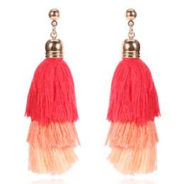 Wholesale 14k Vintage Earrings - 4 Colors Bohemian Multilayer Cotton Thread Tassel Drop Earrings Vintage for Women Statement Long Dangle Earring Fashion Jewelry